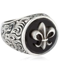 Cantini Mc Firenze - Fleur-de-lis Silver & Onyx Ring - Lyst