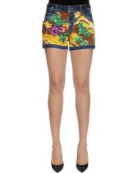 DSquared² - Hawaii Printed Cotton Denim Shorts - Lyst