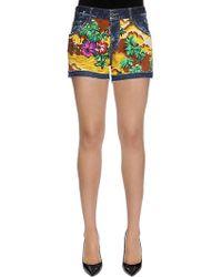 """DSquared² - """"Shorts De Denim De Algodón Estampado """"""""hawaii"""""""""""" - Lyst"""