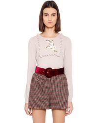 Blugirl Blumarine - Embroidered Wool Blend Sweater - Lyst