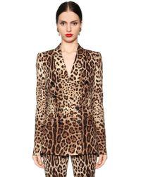 Dolce & Gabbana - Giacca In Cady Di Seta Stretch Stampa Leopard - Lyst