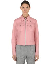 Calvin Klein - Cropped Leather Jacket - Lyst