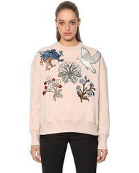 Alexander McQueen - Cotton Sweatshirt W/ Embroidered Patches - Lyst