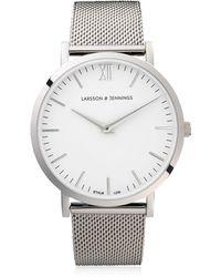 Larsson & Jennings - Lugano 40mm Silver & White Watch - Lyst
