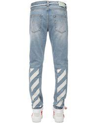Off-White c/o Virgil Abloh - Diagonal Stripes Slim Cotton Denim Jeans - Lyst
