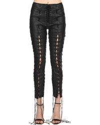 Unravel - Skinny Lace-up Stretch Leather Pants - Lyst