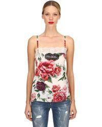 Dolce & Gabbana - Top In Seta Crepe De Chine Stampa Rose - Lyst