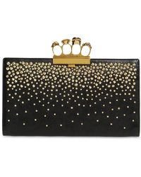 Alexander McQueen - Embellished Leather Knuckle Clutch - Lyst