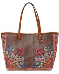 8049014844 Etro - Printed Leather Tote Bag - Lyst