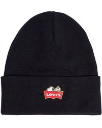 Levi's - Snoopy Embroidered Knit Beanie Hat - Lyst