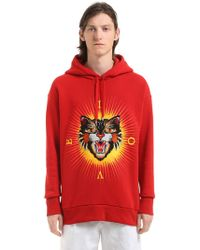 Gucci - Angry Cat Patch Cotton Hooded Sweatshirt - Lyst
