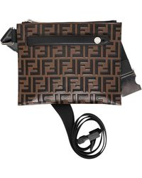 Fendi - Ff Embossed Leather Messenger Pouch - Lyst