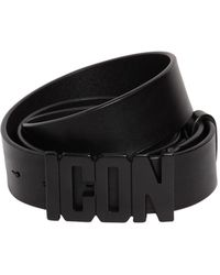 """DSquared² - """"Cintura """"""""icon"""""""" In Pelle 35mm"""" - Lyst"""
