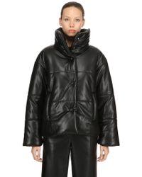 Nanushka - Faux Leather Puffer Jacket - Lyst