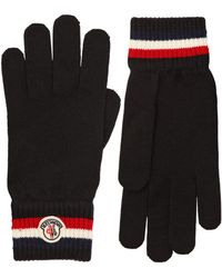 Moncler - Striped Wool Knit Gloves - Lyst