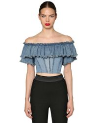 4b4e31092ffae Dolce   Gabbana - Ruffled Cotton Denim Crop Top - Lyst