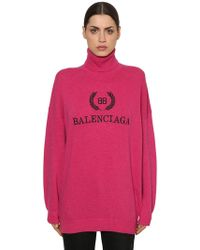 Balenciaga Oversized Lace-trimmed Ribbed Wool Sweater in Blue - Lyst e7f9f7f83