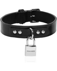 DSquared² - Leather Collar W/ Detachable Logo - Lyst