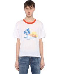 Saint Laurent - Waiting For Sunset Cotton Jersey T-shirt - Lyst
