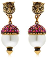 Gucci | Faux Pearls & Crystal Earrings | Lyst