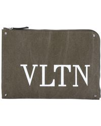 Valentino - Logo Print Cotton Canvas Pouch - Lyst