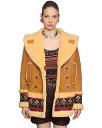 Etro - Shearling Peacoat W/ Woven Wool Trim - Lyst