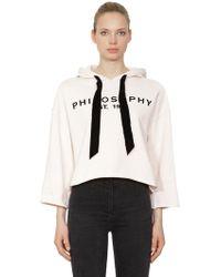 Philosophy Di Lorenzo Serafini - Logo Printed Hooded Cropped Sweatshirt - Lyst