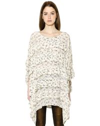 Mes Demoiselles - Floral Print Ruffled Silk Dress - Lyst