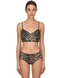 Ganni - Leopard Print Mesh Bra - Lyst