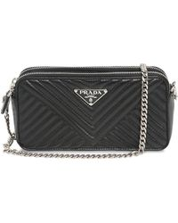 b0d0dba71aeb Prada Small Quilted Soft Leather Camera Bag in Black - Lyst