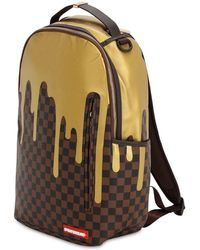 ed3175ccc4b Sprayground - Gold Checkered Faux Leather Backpack - Lyst