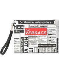 Versace - Bolso Pouch De Piel Saffiano Con Estampado - Lyst