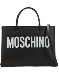Moschino - Logo Printed Leather Shoulder Bag - Lyst