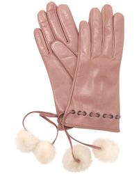 Mario Portolano | Leather Gloves W/ Fur Pompoms | Lyst