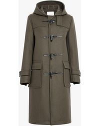 Mackintosh Dark Olive Wool Long Duffle Coat - Green