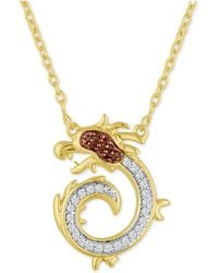 Macy's - Diamond Dragon Pendant Necklace (1/10 Ct. T.w.) In 14k Gold-plated Sterling Silver - Lyst