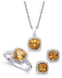 Macy's - Sterling Silver Jewelry Set, Citrine (4-3/4 Ct. T.w.) And Diamond Accent Necklace, Earrings And Ring Set - Lyst