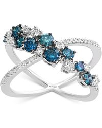 Effy Collection - Effy® Shades Of Bleu Diamond X Ring (1 Ct. T.w.) In 14k White Gold - Lyst
