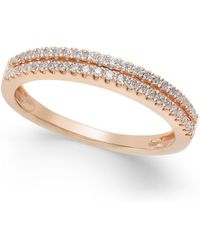 Macy's - Diamond Double Row Band In (1/4 Ct. T.w.) In 14k White, Yellow Or Rose Gold - Lyst
