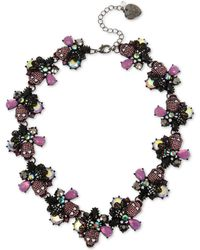 "Betsey Johnson - Hematite-tone Crystal & Stone Skull Collar Necklace, 17"" + 3"" Extender - Lyst"
