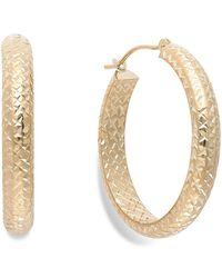 Macy's | Diamond-cut Hoop Earrings In 10k Gold | Lyst