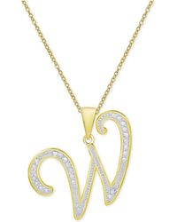 Macy's - Diamond Accent Script Initial Pendant Necklace In 18k Gold-plated Sterling Silver - Lyst