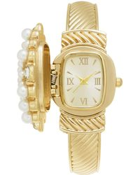 Charter Club - Gold-tone Flip Crystal & Imitation Pearl Cluster Bracelet Watch 35mm, Created For Macy's - Lyst