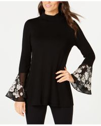 Alfani - Embroidered Flared-cuff Sweater - Lyst