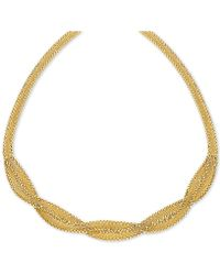 "Macy's - Braided Wheat Link 17"" Collar Necklace In 10k Gold - Lyst"