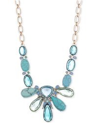 """Carolee - Gold-tone Colored Stone 18"""" Statement Necklace - Lyst"""