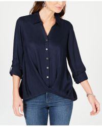 Style & Co. - Twist-front Roll-tab Shirt, Created For Macy's - Lyst