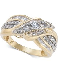 Macy's - Diamond Overlap Cluster Ring (1 Ct. T.w) In 14k Gold - Lyst
