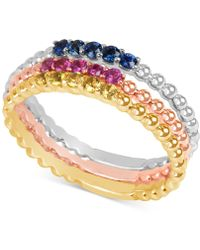 Macy's - Multi-sapphire (1/8 Ct. T.w.) Tri-tone 3-pc. Set Stacking Rings In 14k White, Yellow, And Rose Gold - Lyst