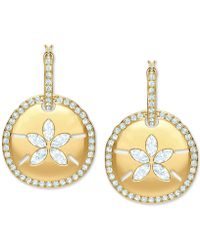 Swarovski - Gold-tone Crystal Hoop & Sand Coin Convertible Earrings - Lyst